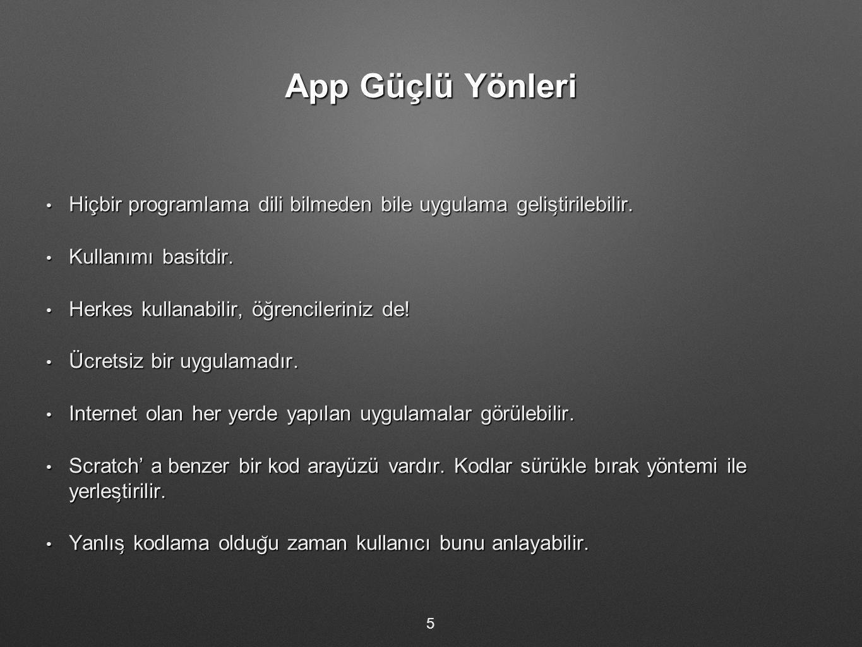 App Güçlü Yönleri Hiçbir programlama dili bilmeden bile uygulama gelis ̧ tirilebilir. Hiçbir programlama dili bilmeden bile uygulama gelis ̧ tirilebil