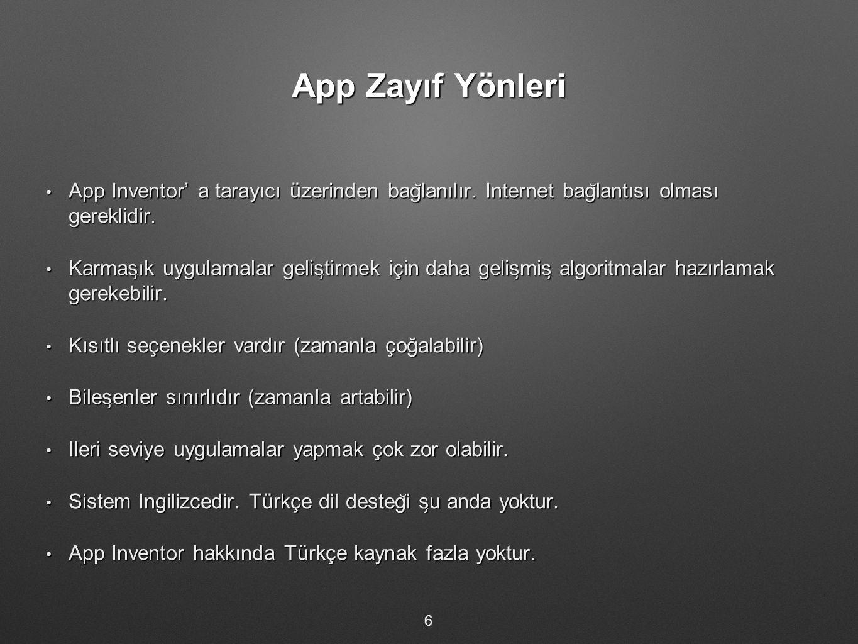 App Zayıf Yönleri App Inventor' a tarayıcı üzerinden bag ̆ lanılır. I ̇ nternet bag ̆ lantısı olması gereklidir. App Inventor' a tarayıcı üzerinden ba