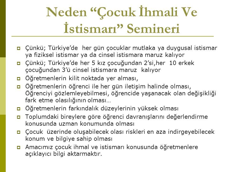 """Neden """"Çocuk İhmali Ve İstismarı"""" Semineri  Çünkü; Türkiye'de her gün çocuklar mutlaka ya duygusal istismar ya fiziksel istismar ya da cinsel istisma"""