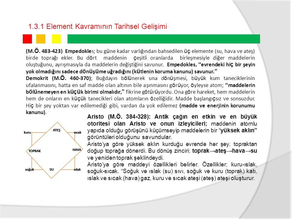1.3.1 Element Kavramının Tarihsel Gelişimi (M. Ö. 483-423) Empedokles; bu g ü ne kadar varlığından bahsedilen üç elemente (su, hava ve ateş) birde top