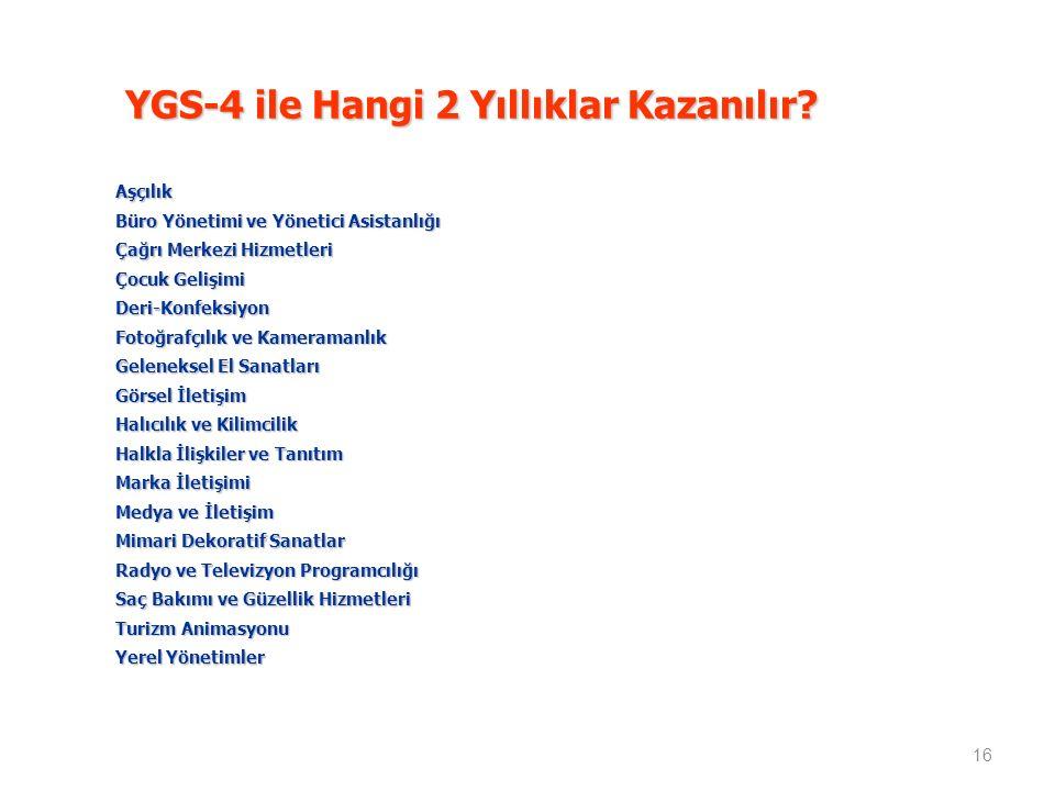 YGS-4 ile Hangi 2 Yıllıklar Kazanılır.