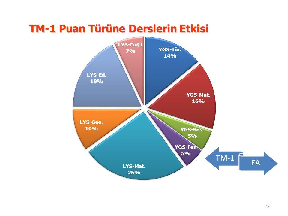 TM-1 Puan Türüne Derslerin Etkisi 44 TM-1 EA