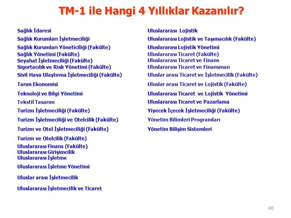TM-1 ile Hangi 4 Yıllıklar Kazanılır.