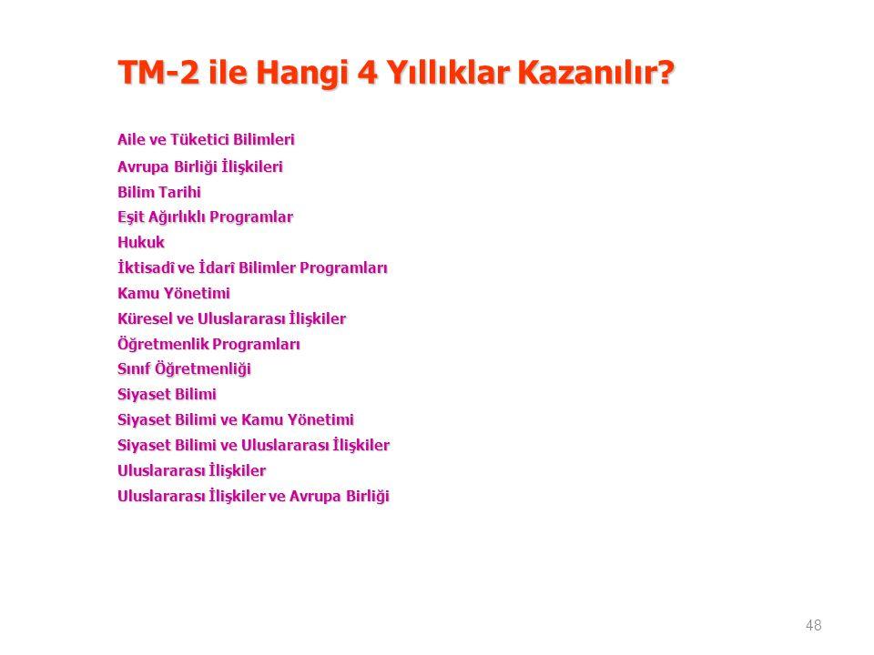 TM-2 ile Hangi 4 Yıllıklar Kazanılır.