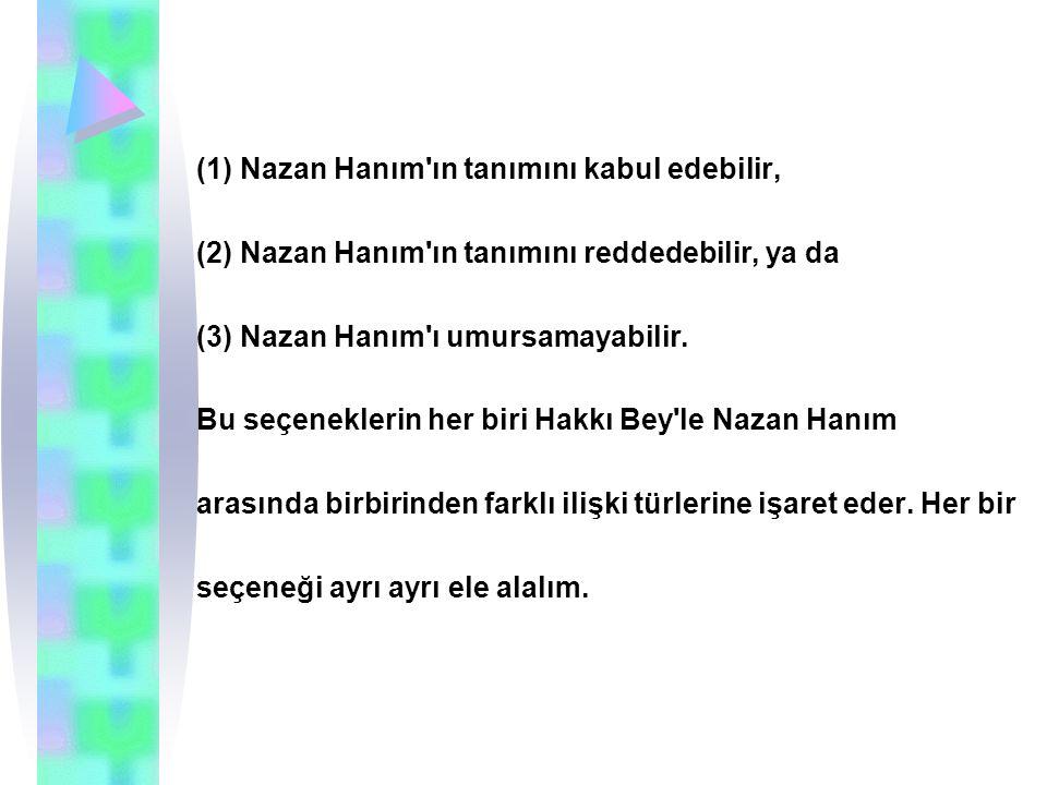 (1) Nazan Hanım ın tanımını kabul edebilir, (2) Nazan Hanım ın tanımını reddedebilir, ya da (3) Nazan Hanım ı umursamayabilir.