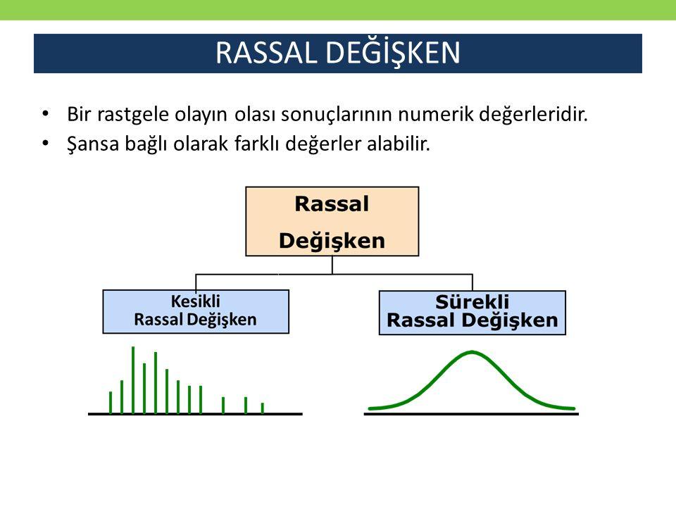 RASSAL DEĞİŞKEN Bir rastgele olayın olası sonuçlarının numerik değerleridir. Şansa bağlı olarak farklı değerler alabilir.