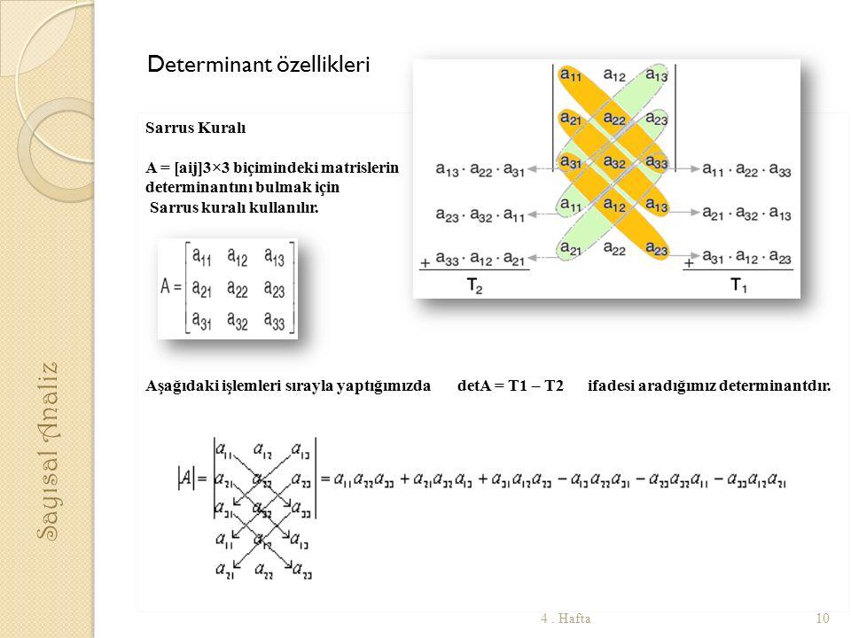 Determinant özellikleri Sarrus Kuralı A = [aij]3×3 biçimindeki matrislerin determinantını bulmak için Sarrus kuralı kullanılır. Aşağıdaki işlemleri sı