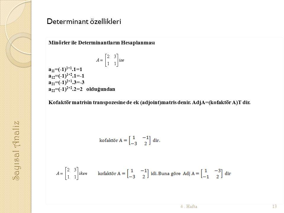 Determinant özellikleri Minörler ile Determinantların Hesaplanması a 11 =(-1) 1+1.1=1 a 12 =(-1) 1+2.1=-1 a 21 =(-1) 2+1.3=-3 a 22 =(-1) 2+2.2=2 olduğundan Kofaktör matrisin transpozesine de ek (adjoint)matris denir.