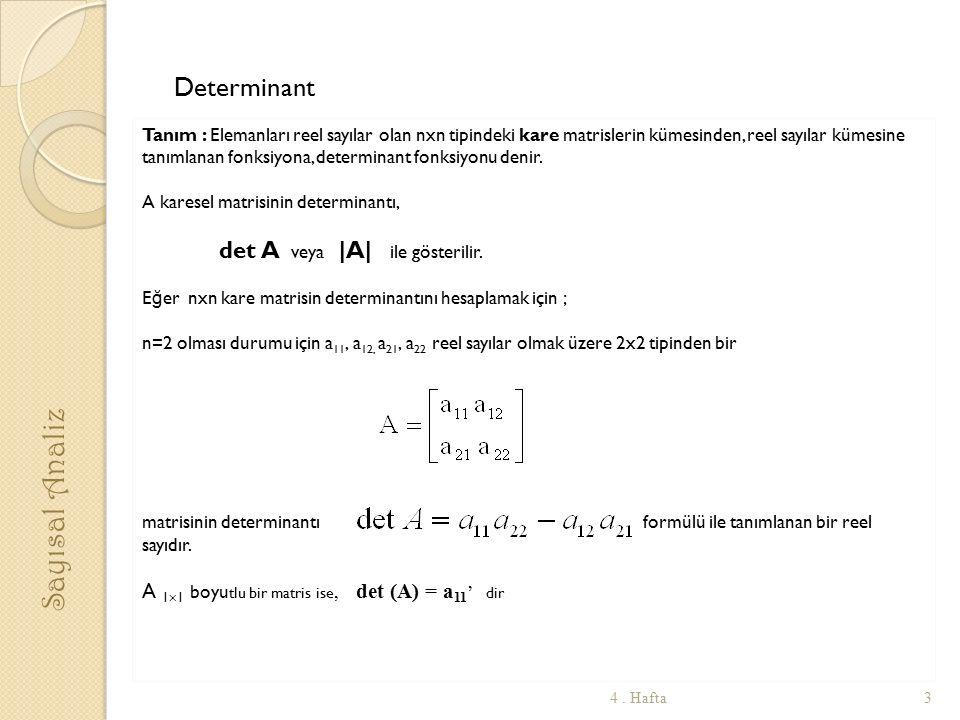 Determinant Tanım : Elemanları reel sayılar olan nxn tipindeki kare matrislerin kümesinden, reel sayılar kümesine tanımlanan fonksiyona, determinant f