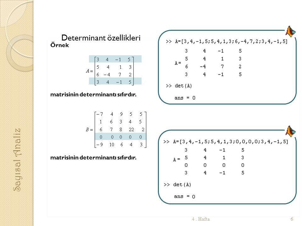 Örnek matrisinin determinantı sıfırdır. Sayısal Analiz 64. Hafta Determinant özellikleri