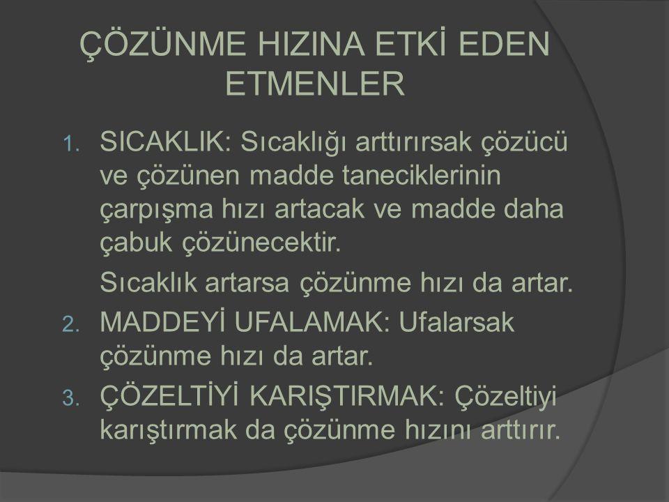 ÇÖZÜNME HIZINA ETKİ EDEN ETMENLER 1.