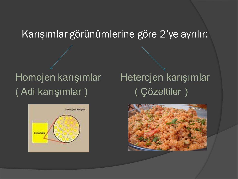 Karışımlar görünümlerine göre 2'ye ayrılır: Homojen karışımlar Heterojen karışımlar ( Adi karışımlar ) ( Çözeltiler )