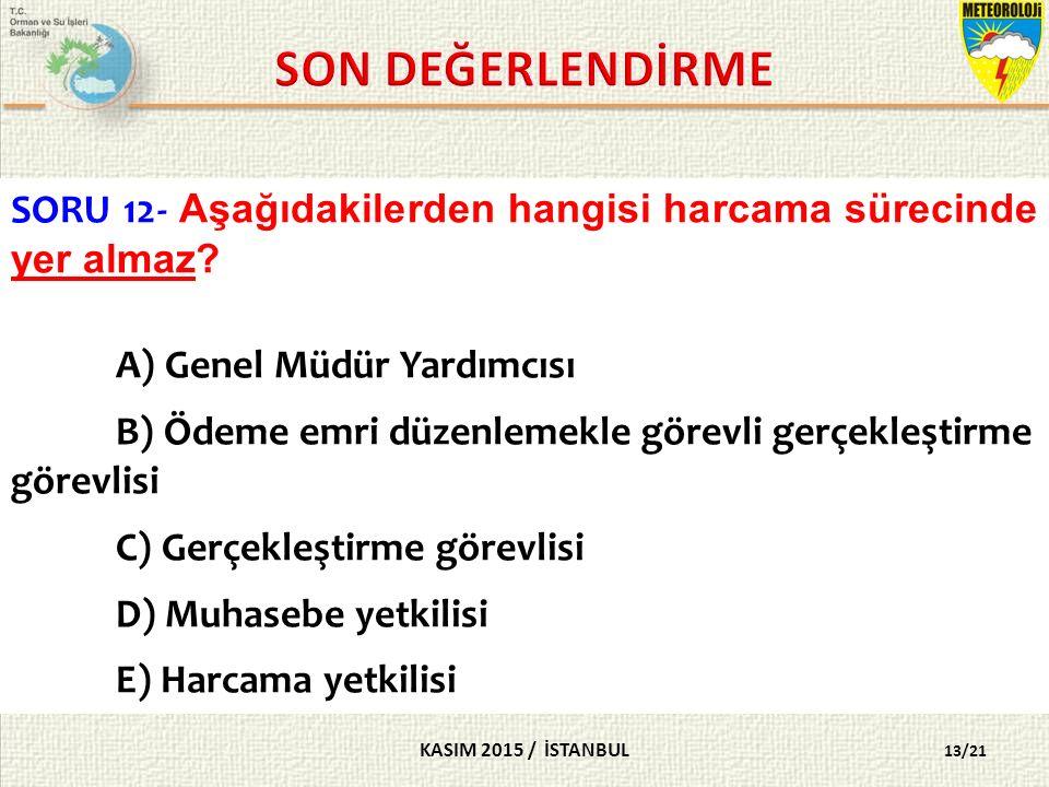 KASIM 2015 / İSTANBUL 13/21 SORU 12- Aşağıdakilerden hangisi harcama sürecinde yer almaz.