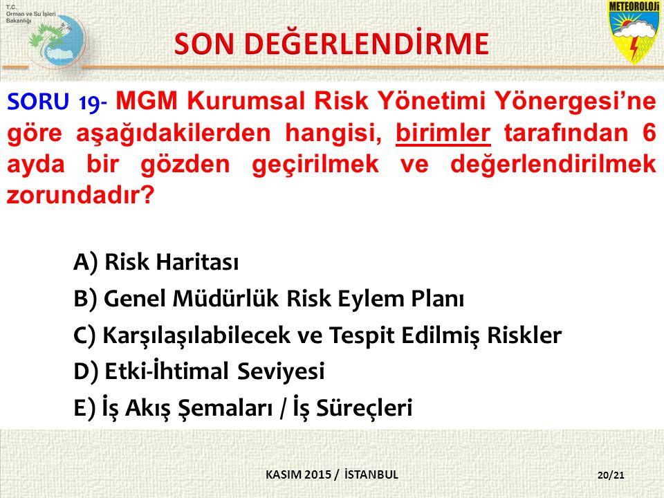 KASIM 2015 / İSTANBUL 20/21 SORU 19- MGM Kurumsal Risk Yönetimi Yönergesi'ne göre aşağıdakilerden hangisi, birimler tarafından 6 ayda bir gözden geçirilmek ve değerlendirilmek zorundadır.
