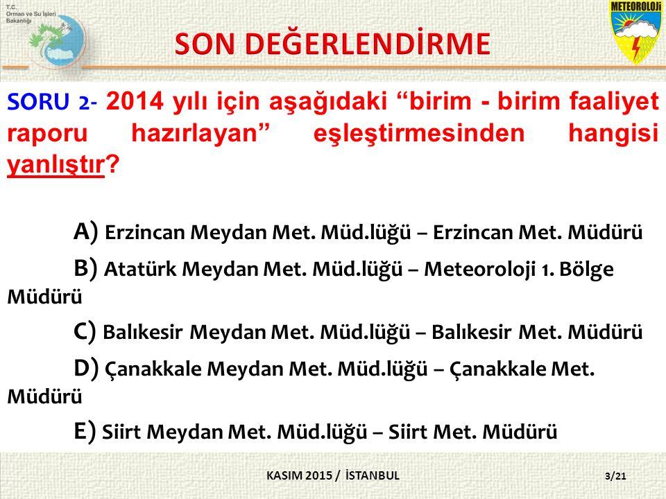 KASIM 2015 / İSTANBUL 3/21 SORU 2- 2014 yılı için aşağıdaki birim - birim faaliyet raporu hazırlayan eşleştirmesinden hangisi yanlıştır.