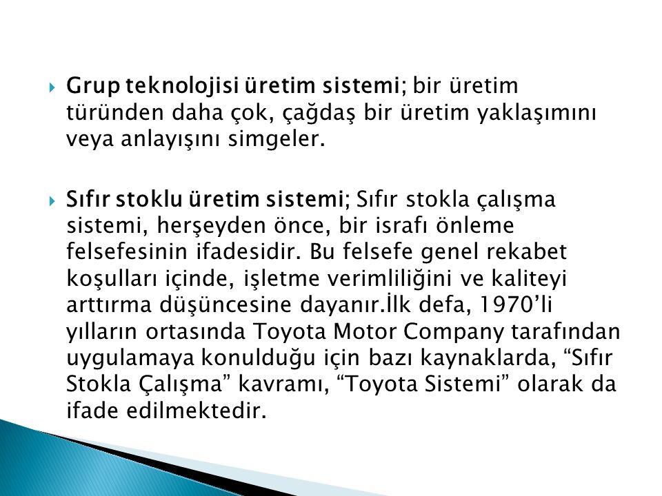  Grup teknolojisi üretim sistemi; bir üretim türünden daha çok, çağdaş bir üretim yaklaşımını veya anlayışını simgeler.  Sıfır stoklu üretim sistemi