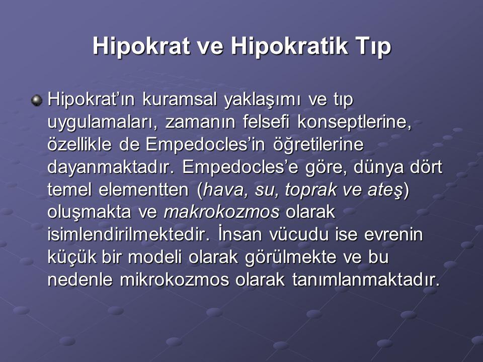 Hipokrat ve Hipokratik Tıp Hipokrat'ın kuramsal yaklaşımı ve tıp uygulamaları, zamanın felsefi konseptlerine, özellikle de Empedocles'in öğretilerine