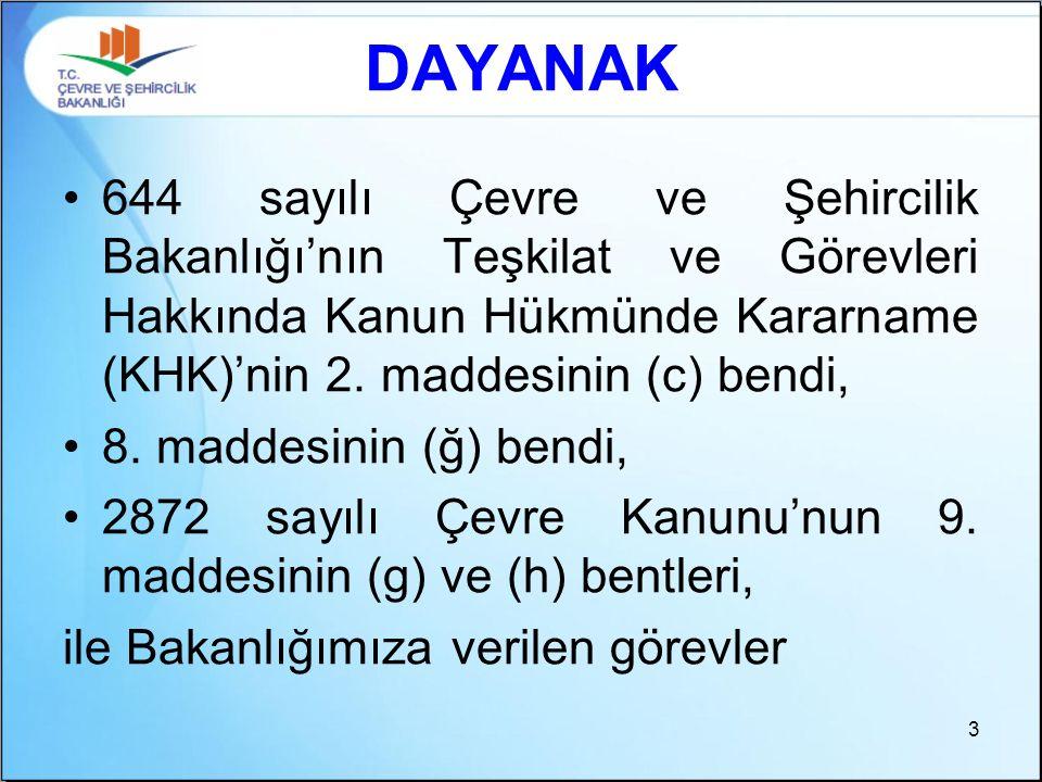 DAYANAK 644 sayılı Çevre ve Şehircilik Bakanlığı'nın Teşkilat ve Görevleri Hakkında Kanun Hükmünde Kararname (KHK)'nin 2. maddesinin (c) bendi, 8. mad