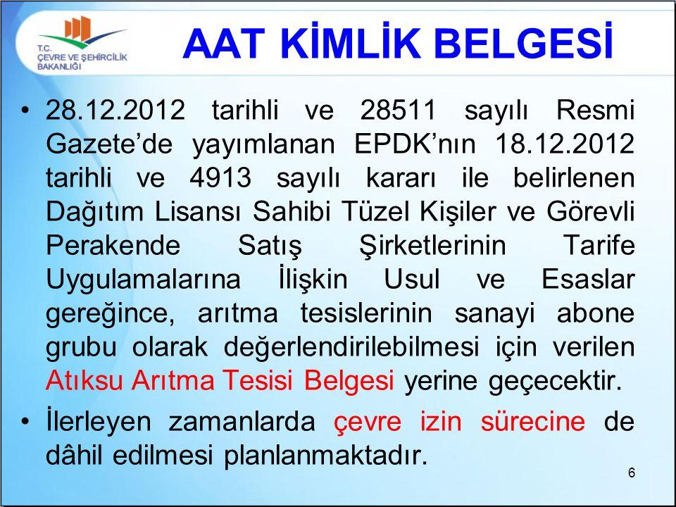 28.12.2012 tarihli ve 28511 sayılı Resmi Gazete'de yayımlanan EPDK'nın 18.12.2012 tarihli ve 4913 sayılı kararı ile belirlenen Dağıtım Lisansı Sahibi