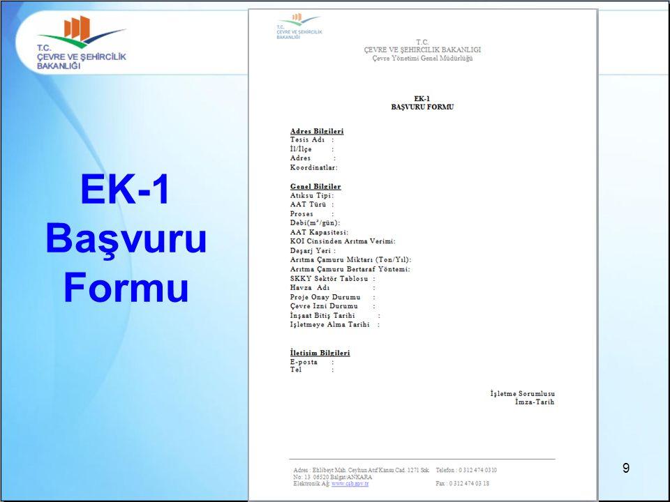 9 EK-1 Başvuru Formu