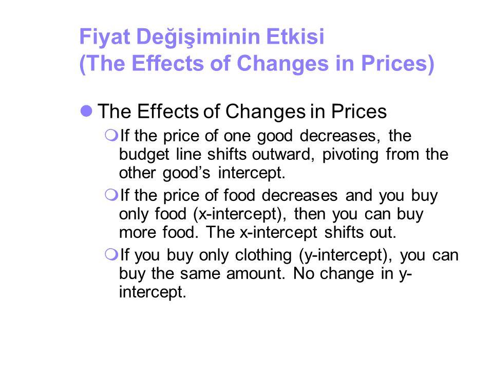 Fiyat Değişiminin Etkisi (The Effects of Changes in Prices) The Effects of Changes in Prices  If the price of one good decreases, the budget line shi