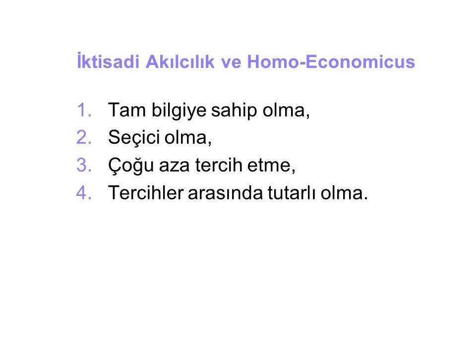 İktisadi Akılcılık ve Homo-Economicus 1.Tam bilgiye sahip olma, 2.Seçici olma, 3.Çoğu aza tercih etme, 4.Tercihler arasında tutarlı olma.