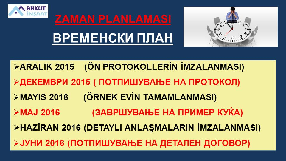 ZAMAN PLANLAMASI ВРЕМЕНСКИ ПЛАН  ARALIK 2015 (ÖN PROTOKOLLERİN İMZALANMASI)  ДЕКЕМВРИ 2015 ( ПОТПИШУВАЊЕ НА ПРОТОКОЛ)  MAYIS 2016 (ÖRNEK EVİN TAMAMLANMASI)  МАЈ 2016 (ЗАВРШУВАЊЕ НА ПРИМЕР КУЌА)  HAZİRAN 2016 (DETAYLI ANLAŞMALARIN İMZALANMASI)  ЈУНИ 2016 (ПОТПИШУВАЊЕ НА ДЕТАЛЕН ДОГОВОР)