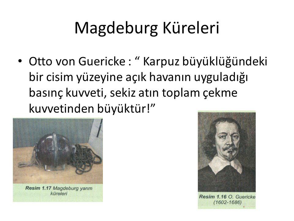 Magdeburg Küreleri Otto von Guericke : Karpuz büyüklüğündeki bir cisim yüzeyine açık havanın uyguladığı basınç kuvveti, sekiz atın toplam çekme kuvvetinden büyüktür!