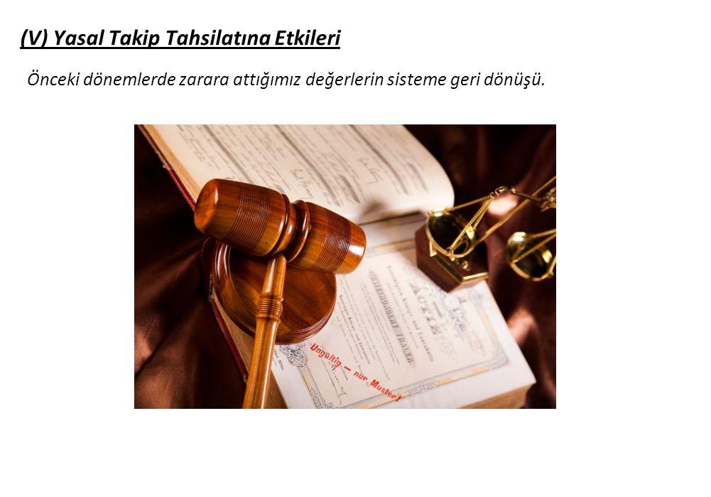 (V) Yasal Takip Tahsilatına Etkileri Önceki dönemlerde zarara attığımız değerlerin sisteme geri dönüşü.