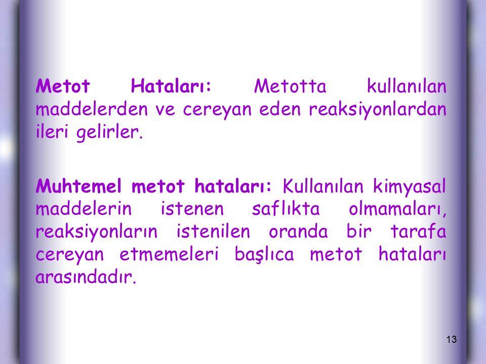 Metot Hataları: Metotta kullanılan maddelerden ve cereyan eden reaksiyonlardan ileri gelirler.