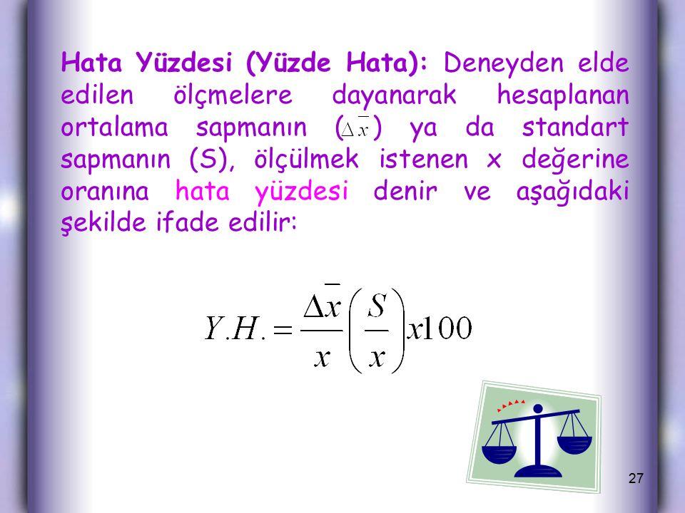Hata Yüzdesi (Yüzde Hata): Deneyden elde edilen ölçmelere dayanarak hesaplanan ortalama sapmanın ( ) ya da standart sapmanın (S), ölçülmek istenen x değerine oranına hata yüzdesi denir ve aşağıdaki şekilde ifade edilir: 27