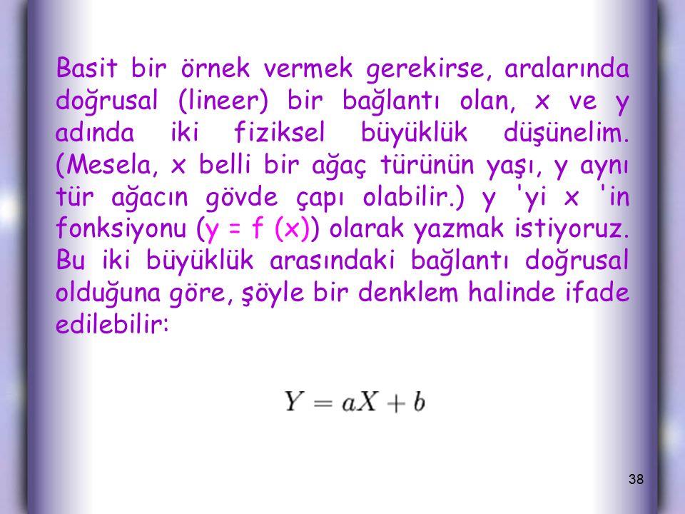 Basit bir örnek vermek gerekirse, aralarında doğrusal (lineer) bir bağlantı olan, x ve y adında iki fiziksel büyüklük düşünelim.