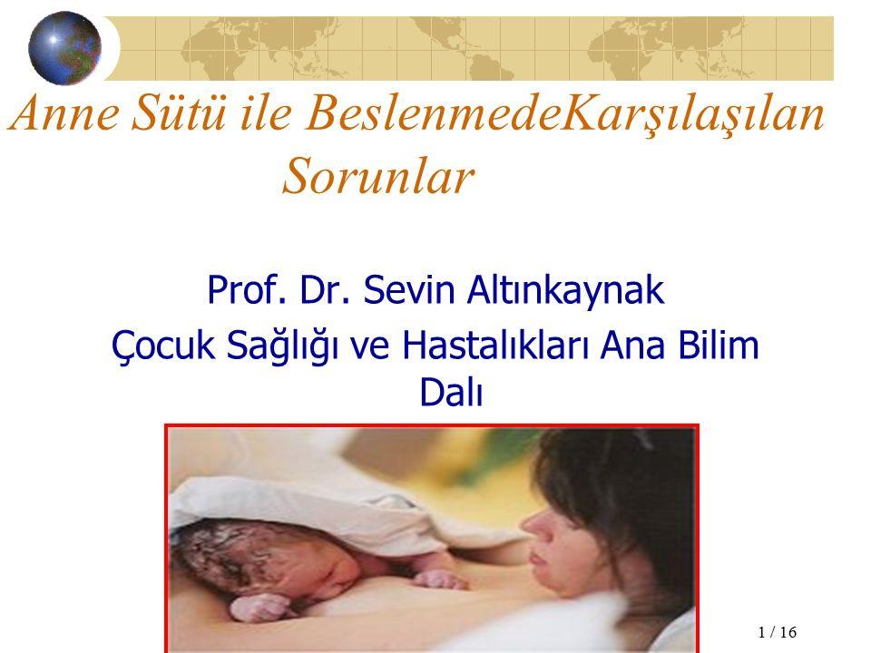 Anne Sütü ile BeslenmedeKarşılaşılan Sorunlar Prof.