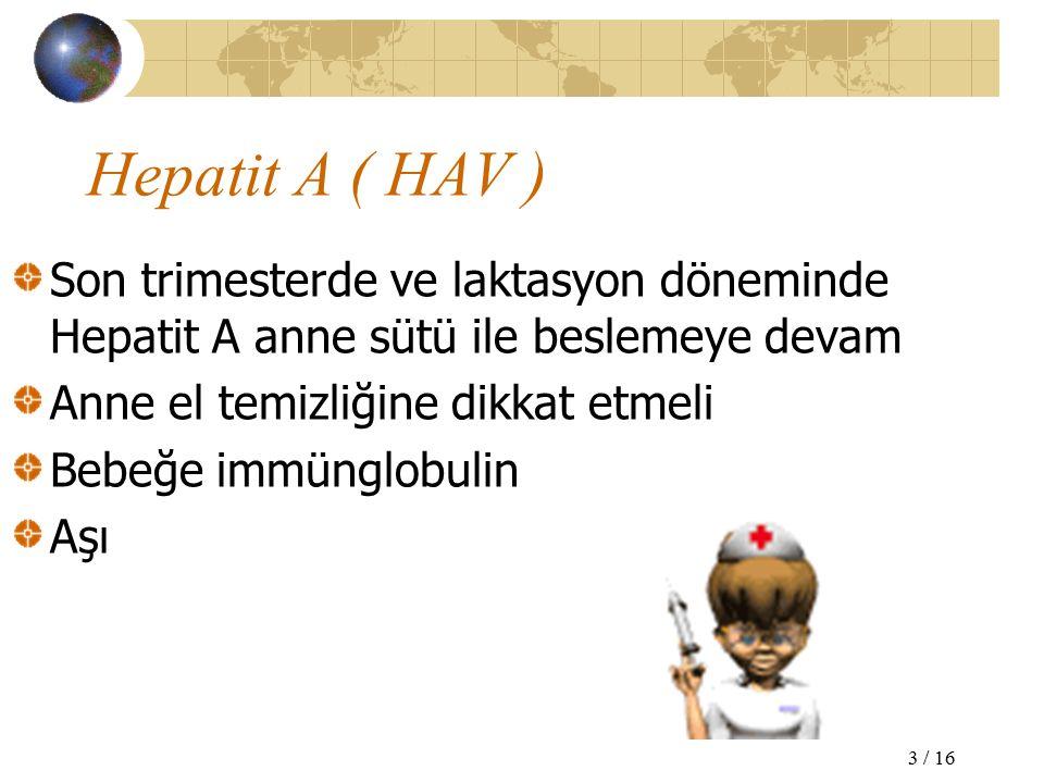 Hepatit A ( HAV ) Son trimesterde ve laktasyon döneminde Hepatit A anne sütü ile beslemeye devam Anne el temizliğine dikkat etmeli Bebeğe immünglobulin Aşı 3 / 16