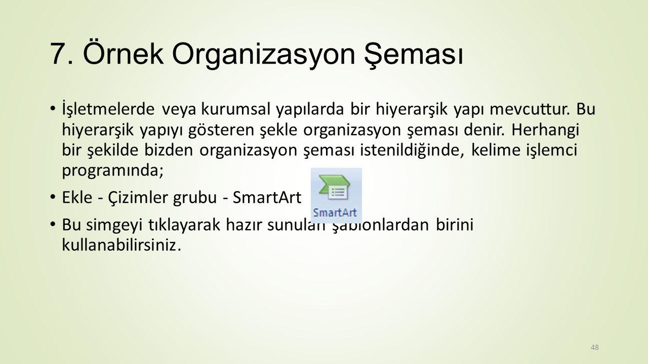 7.Örnek Organizasyon Şeması İşletmelerde veya kurumsal yapılarda bir hiyerarşik yapı mevcuttur.