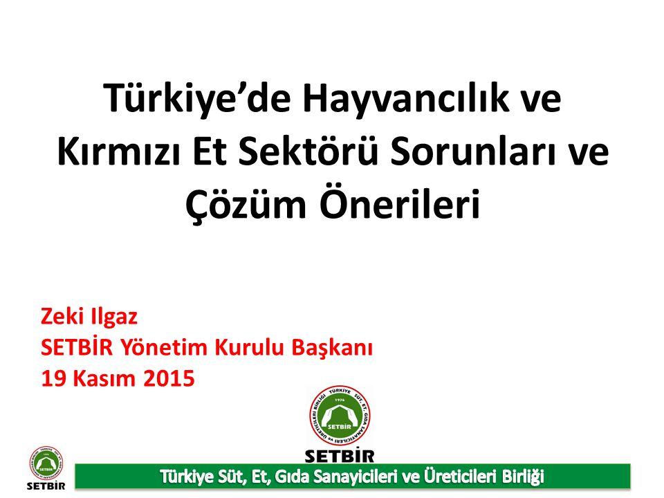 Türkiye'de Hayvancılık ve Kırmızı Et Sektörü Sorunları ve Çözüm Önerileri Zeki Ilgaz SETBİR Yönetim Kurulu Başkanı 19 Kasım 2015