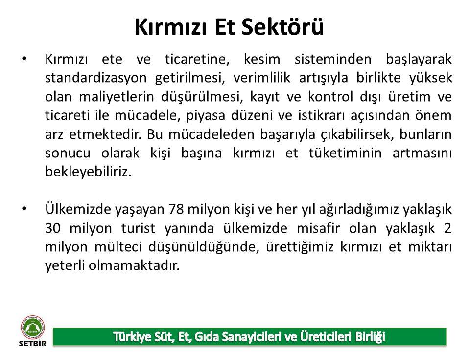 Türkiye İstatistik Kurumu 2012 verilerine göre ülkemizde etin işlenmesi ve saklanması alt kırılımında 202 işletme mevcut olup, et ve kümes hayvanları etinden üretilen ürünlerin imalatı alt kırılımında 204 adet işletme yer almaktadır.