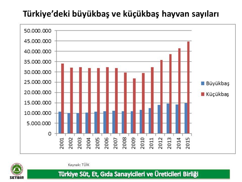 Türkiye'deki büyükbaş ve küçükbaş hayvan sayıları Kaynak: TÜİK
