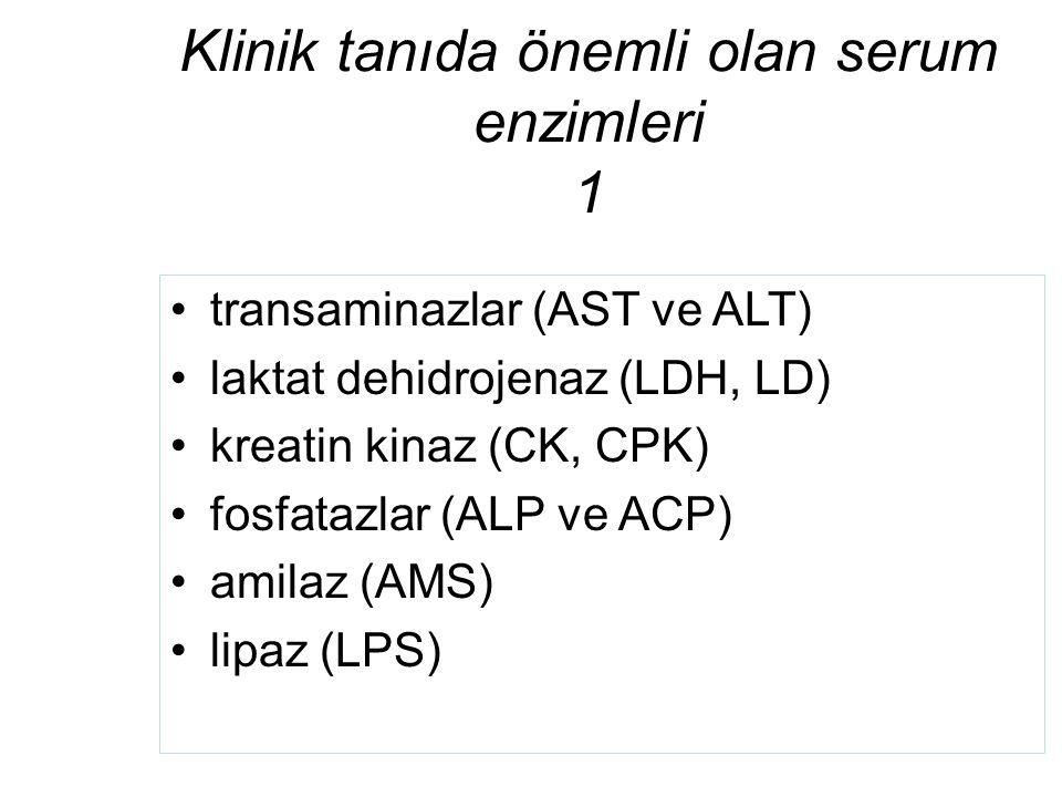 Klinik tanıda önemli olan serum enzimleri 1 transaminazlar (AST ve ALT) laktat dehidrojenaz (LDH, LD) kreatin kinaz (CK, CPK) fosfatazlar (ALP ve ACP)