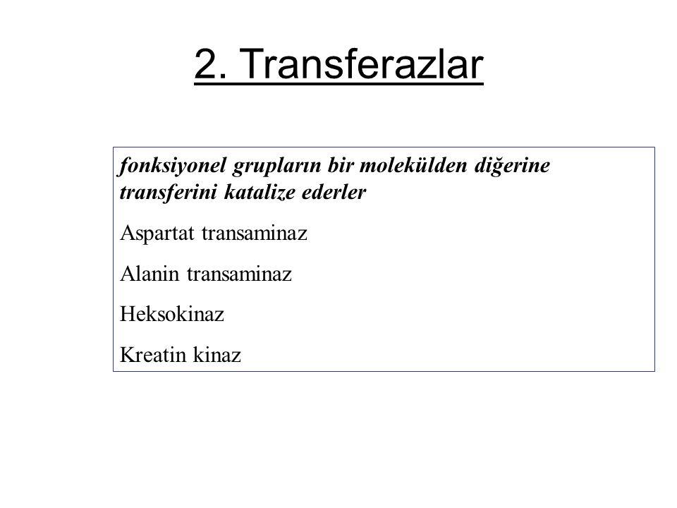 2. Transferazlar fonksiyonel grupların bir molekülden diğerine transferini katalize ederler Aspartat transaminaz Alanin transaminaz Heksokinaz Kreatin