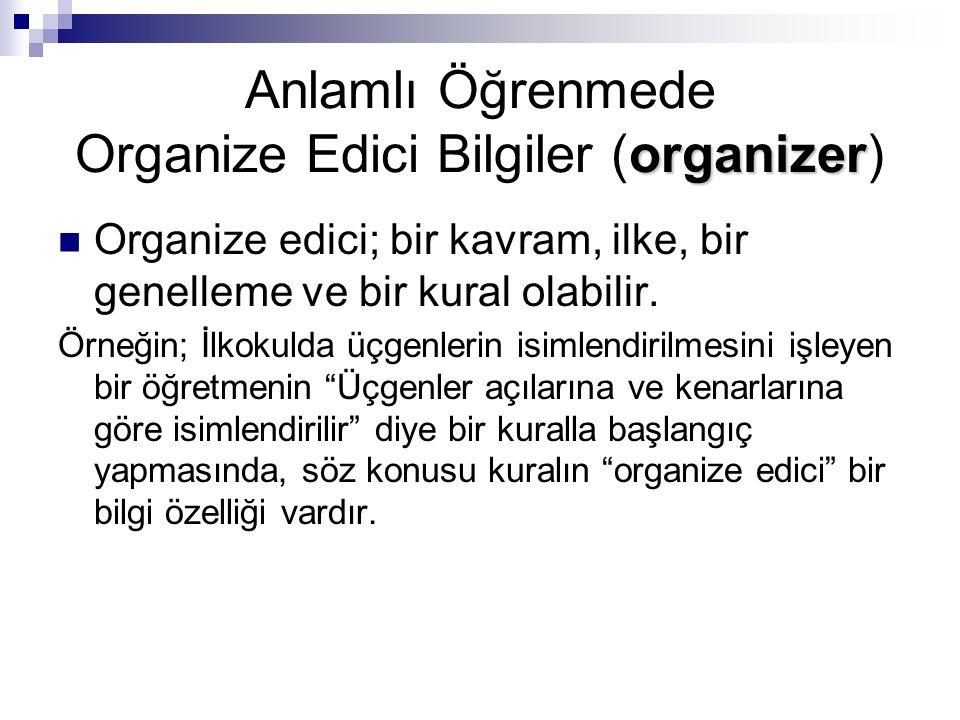 Organize ediciler, daha sonra öğrenilecek bilgileri anlamlı bir duruma getirirler.
