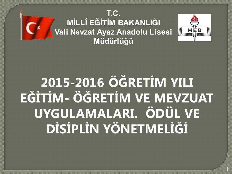 1 2015-2016 ÖĞRETİM YILI EĞİTİM- ÖĞRETİM VE MEVZUAT UYGULAMALARI.