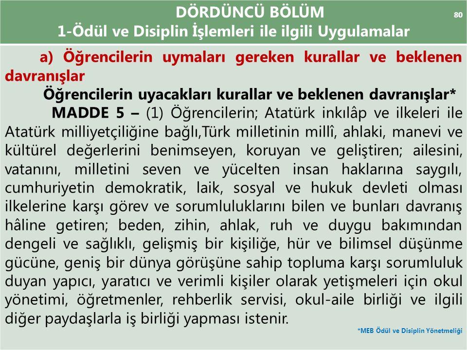 DÖRDÜNCÜ BÖLÜM 80 1-Ödül ve Disiplin İşlemleri ile ilgili Uygulamalar a) Öğrencilerin uymaları gereken kurallar ve beklenen davranışlar Öğrencilerin uyacakları kurallar ve beklenen davranışlar* MADDE 5 – (1) Öğrencilerin; Atatürk inkılâp ve ilkeleri ile Atatürk milliyetçiliğine bağlı,Türk milletinin millî, ahlaki, manevi ve kültürel değerlerini benimseyen, koruyan ve geliştiren; ailesini, vatanını, milletini seven ve yücelten insan haklarına saygılı, cumhuriyetin demokratik, laik, sosyal ve hukuk devleti olması ilkelerine karşı görev ve sorumluluklarını bilen ve bunları davranış hâline getiren; beden, zihin, ahlak, ruh ve duygu bakımından dengeli ve sağlıklı, gelişmiş bir kişiliğe, hür ve bilimsel düşünme gücüne, geniş bir dünya görüşüne sahip topluma karşı sorumluluk duyan yapıcı, yaratıcı ve verimli kişiler olarak yetişmeleri için okul yönetimi, öğretmenler, rehberlik servisi, okul-aile birliği ve ilgili diğer paydaşlarla iş birliği yapması istenir.