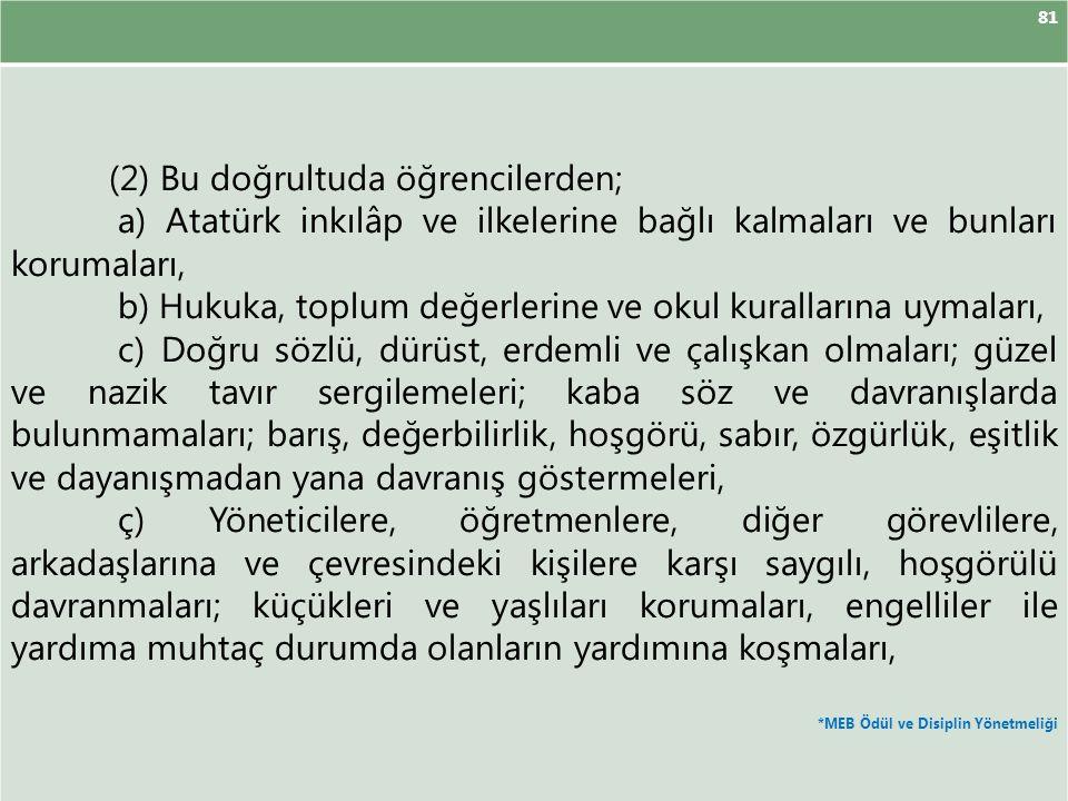 81 (2) Bu doğrultuda öğrencilerden; a) Atatürk inkılâp ve ilkelerine bağlı kalmaları ve bunları korumaları, b) Hukuka, toplum değerlerine ve okul kurallarına uymaları, c) Doğru sözlü, dürüst, erdemli ve çalışkan olmaları; güzel ve nazik tavır sergilemeleri; kaba söz ve davranışlarda bulunmamaları; barış, değerbilirlik, hoşgörü, sabır, özgürlük, eşitlik ve dayanışmadan yana davranış göstermeleri, ç) Yöneticilere, öğretmenlere, diğer görevlilere, arkadaşlarına ve çevresindeki kişilere karşı saygılı, hoşgörülü davranmaları; küçükleri ve yaşlıları korumaları, engelliler ile yardıma muhtaç durumda olanların yardımına koşmaları, *MEB Ödül ve Disiplin Yönetmeliği