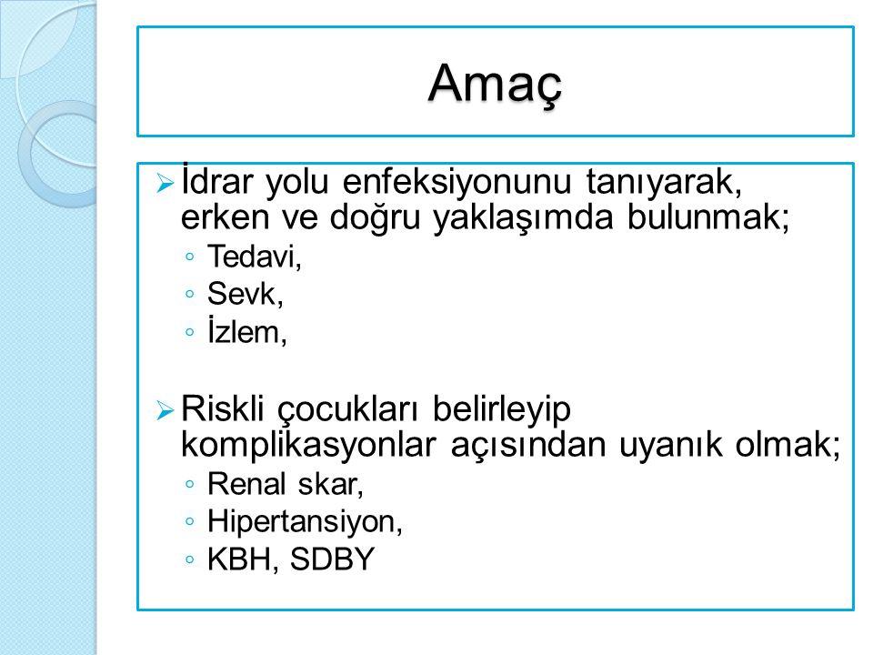 Görüntüleme-99mTc-DMSA  Ateşli İYE sonrası renal parankimal skar varlığını göstermek için, enfeksiyondan 4-6 ay sonra yapılabilir, ◦ Sadece atipik veya tekrarlayan İYE hastalarına önerilmektedir.