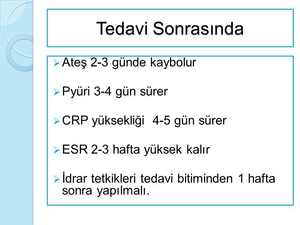 Tedavi Sonrasında  Ateş 2-3 günde kaybolur  Pyüri 3-4 gün sürer  CRP yüksekliği 4-5 gün sürer  ESR 2-3 hafta yüksek kalır  İdrar tetkikleri tedav