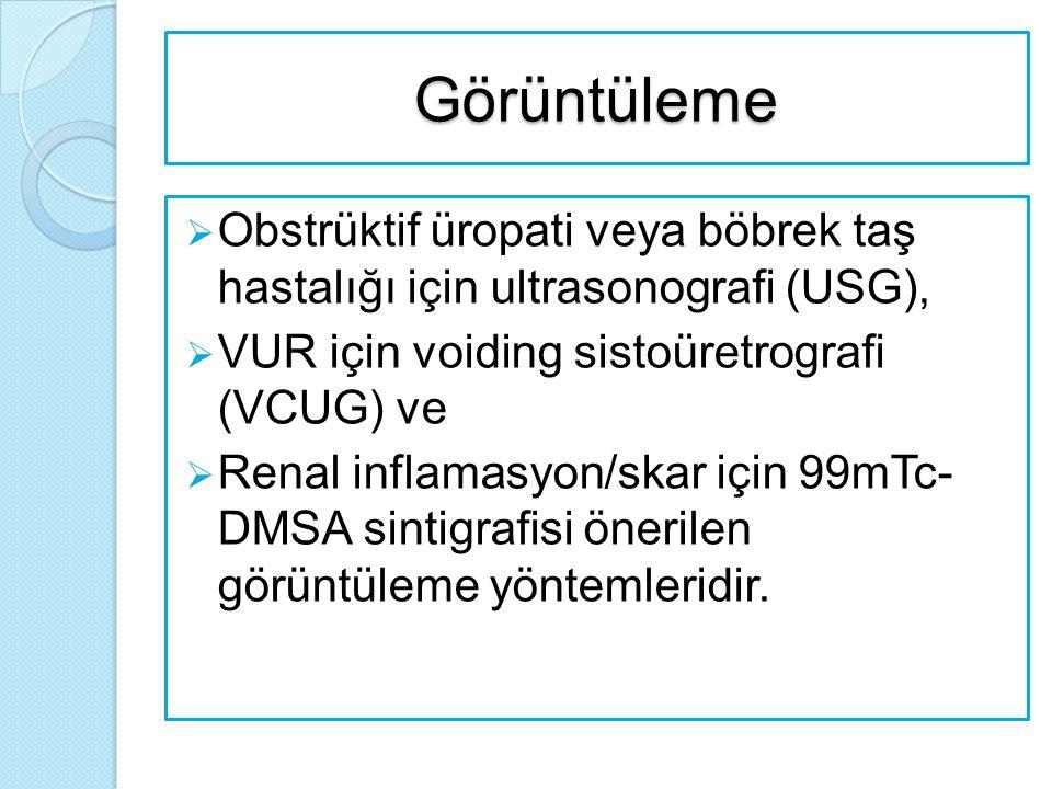 Görüntüleme  Obstrüktif üropati veya böbrek taş hastalığı için ultrasonografi (USG),  VUR için voiding sistoüretrografi (VCUG) ve  Renal inflamasyo