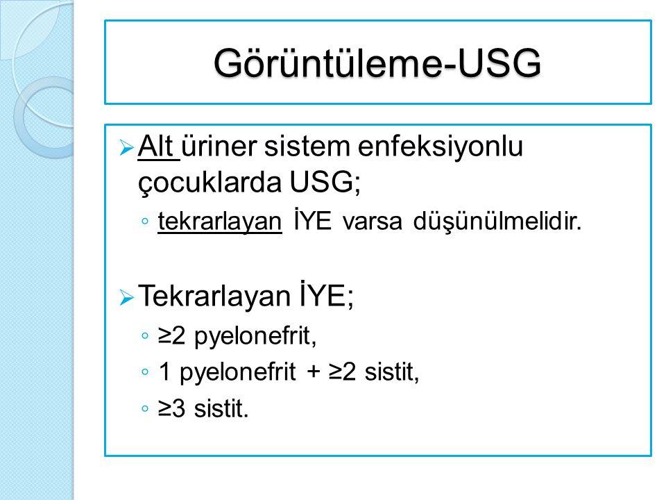 Görüntüleme-USG  Alt üriner sistem enfeksiyonlu çocuklarda USG; ◦ tekrarlayan İYE varsa düşünülmelidir.  Tekrarlayan İYE; ◦ ≥2 pyelonefrit, ◦ 1 pyel