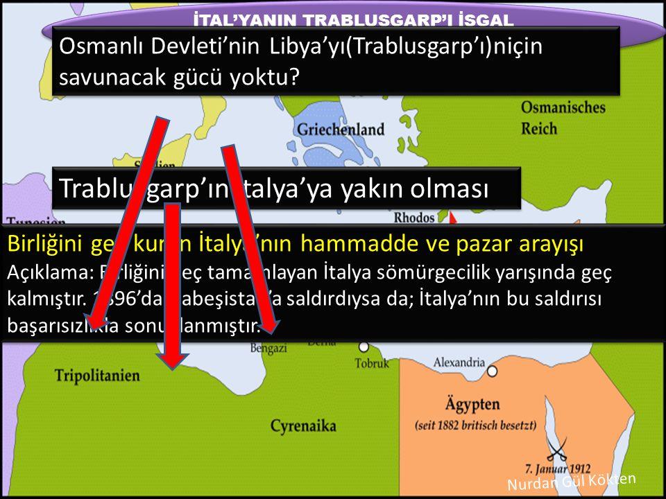 Osmanlı Devleti Trablusgarp'a karadan yardım edemezdi; çünkü Mısır, İtalya'nın Trablusgarp'ı işgalini onaylayan İngiltere'nin elindeydi.