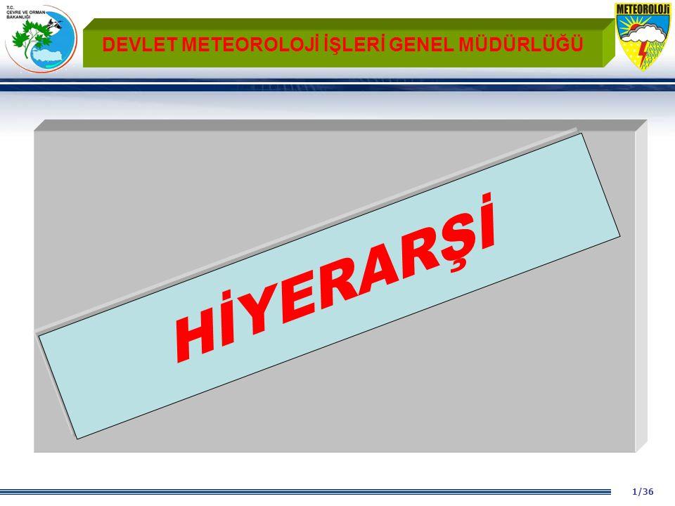 1/36 DEVLET METEOROLOJİ İŞLERİ GENEL MÜDÜRLÜĞÜ HİYERARŞİ